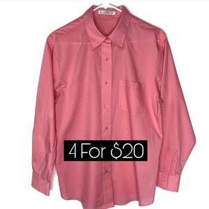 Foxcroft Wrinkle Free Pink Button Up Shirt Size 12
